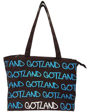 """Väska canvas """"Gotland"""" brun/blå 5st/förp Pris 69.-/st"""