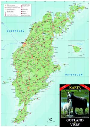 Karta Gotland/Visby 25st/fp Pris 14.-/st