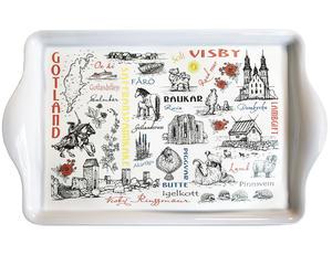 """Bricka stor """"Gotland teckning"""" 12st/fp Pris 36.-/st"""